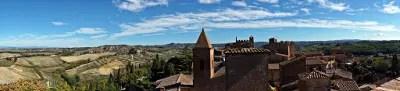 Panorama dalla terrazza della Casa del Boccaccio a Certaldo.