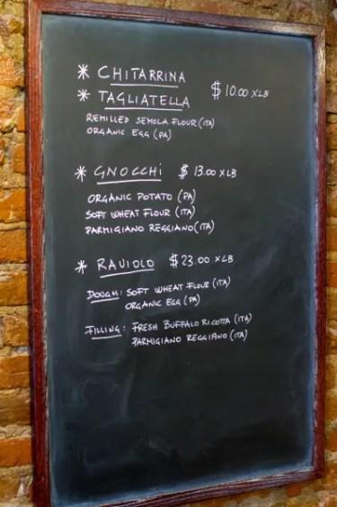 Menu of Un Posto Italiano, an Italian restaurant in Brooklyn. © Christopher Lehnert
