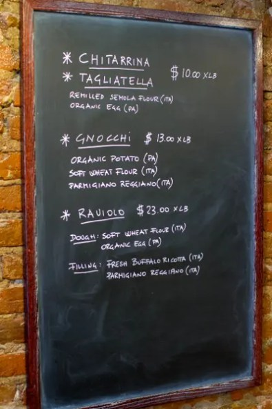 Menu of Un Posto Italiano, an Italian restaurant in Brooklyn. © Christopher Lehnert