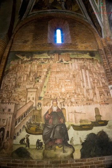 Affresco del Lanzoni raffigurante la mappa di Pavia nel 1500.