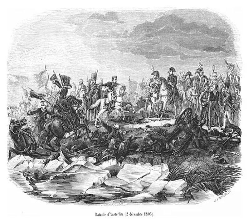 La Battaglia di Austerlitz raccontata nel romanzo russo Guerra e Pace.