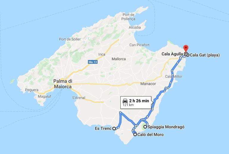 Mappa itinerario spiagge Maiorca