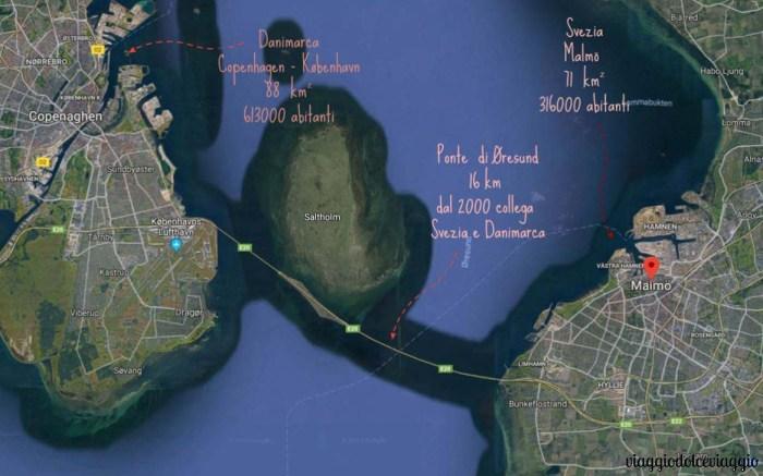 Copenhagen e Malmo, mappa