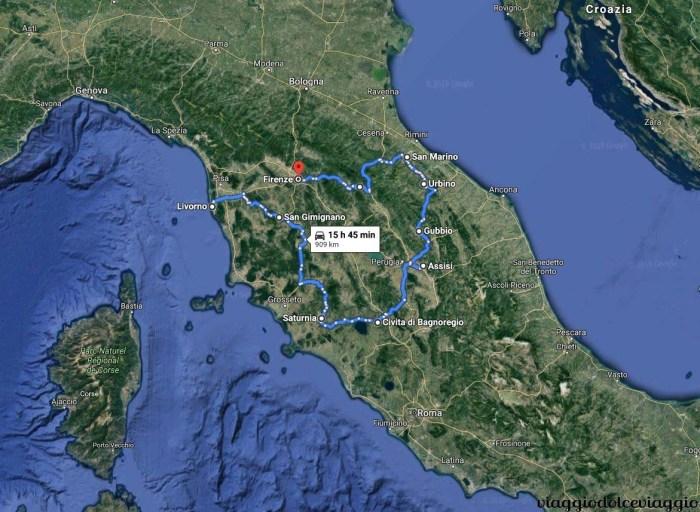 Itinerario in moto dell'Italia centrale