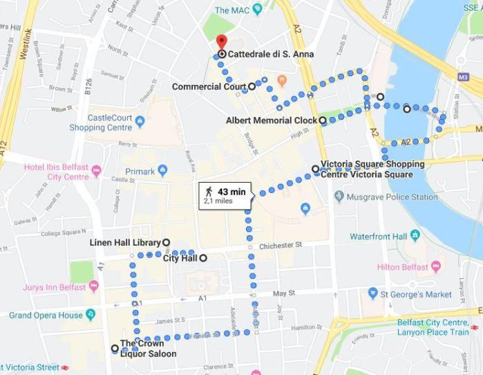 Mappa itinerario di Belfast, il centro città