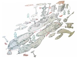 Tavola preparatoria alla creazione dello stampo dell'astronave di Capitan Harlock