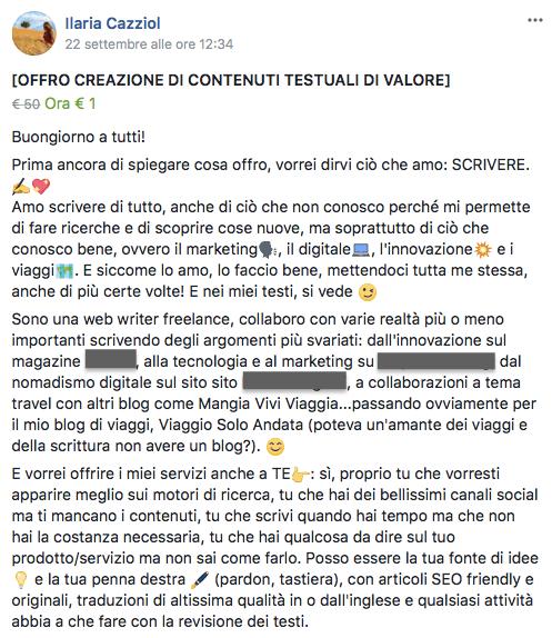 annuncio facebook da freelance