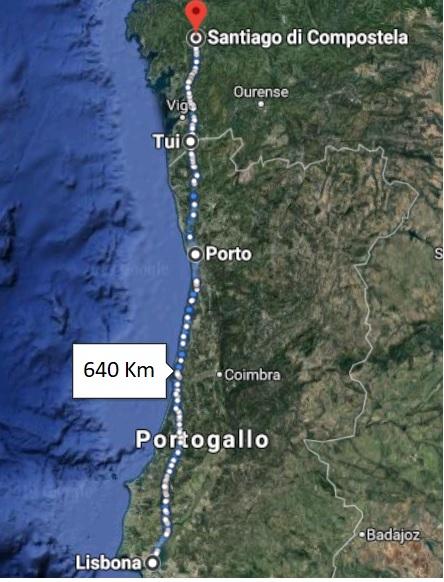Cammino di Santiago Portoghese - Mappa da Lisbona