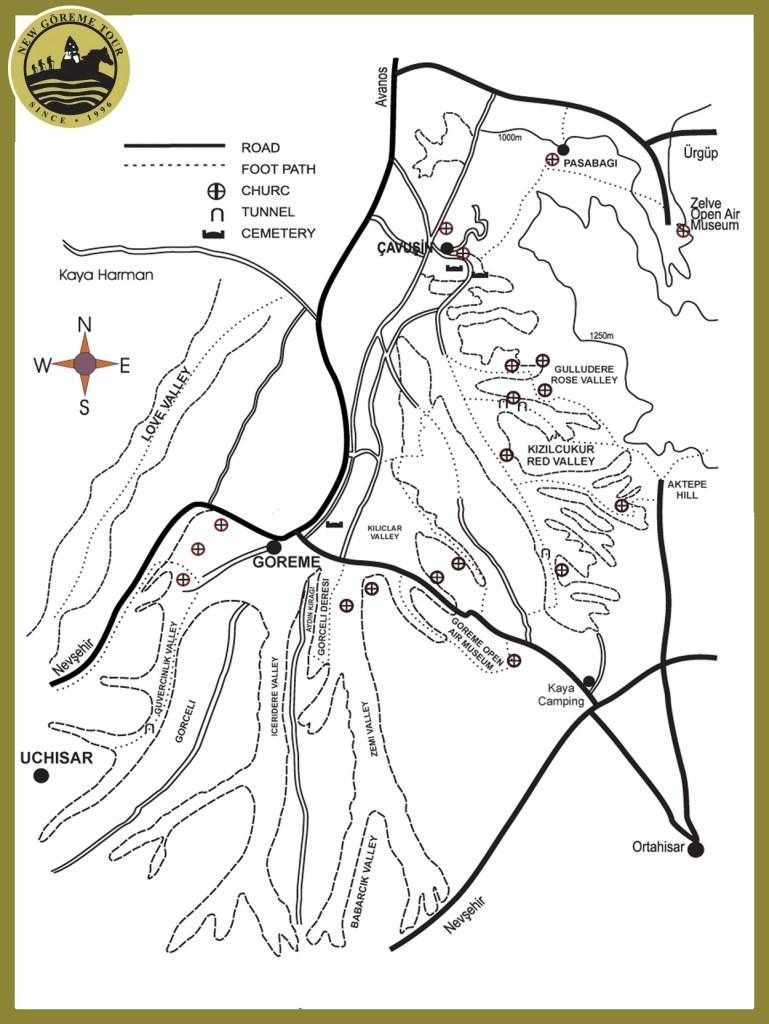 mappa trekking cappadocia