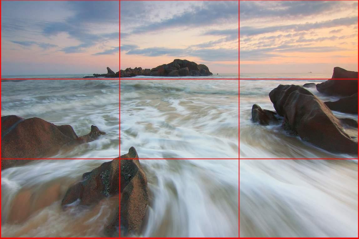linee dei terzi, composizione di paesaggio marino