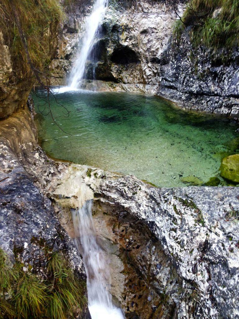 trekking lago del Mis ai Cadini del Brenton e Cascata La