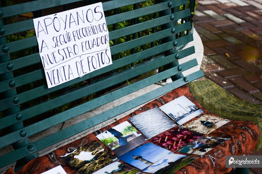 Primera venta de fotos en el parque.