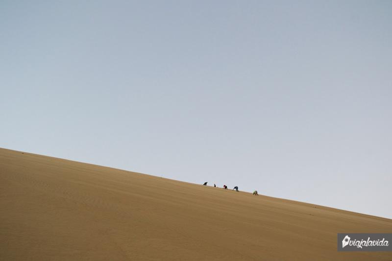 Subiendo las empinadas dunas del desierto.