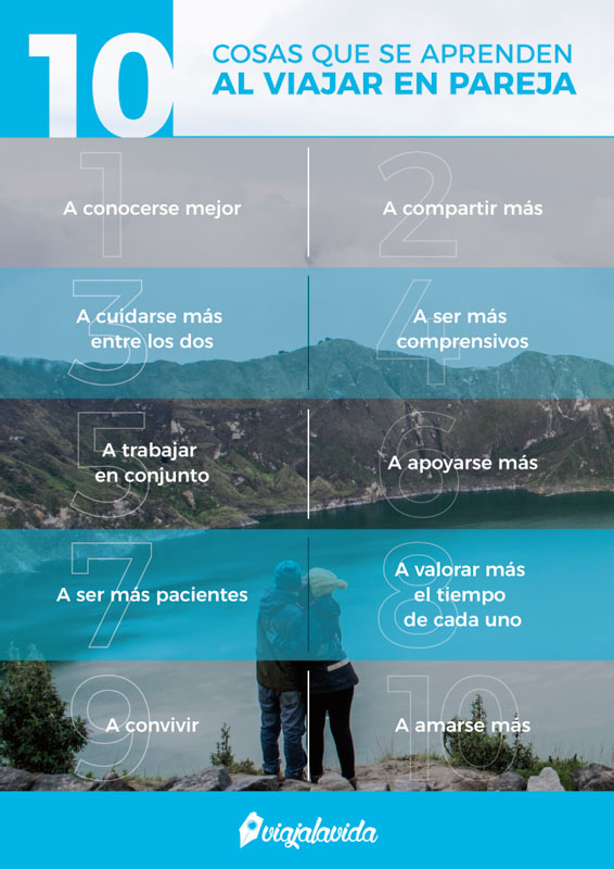 Infografía, lo que se aprende al viajar en pareja.