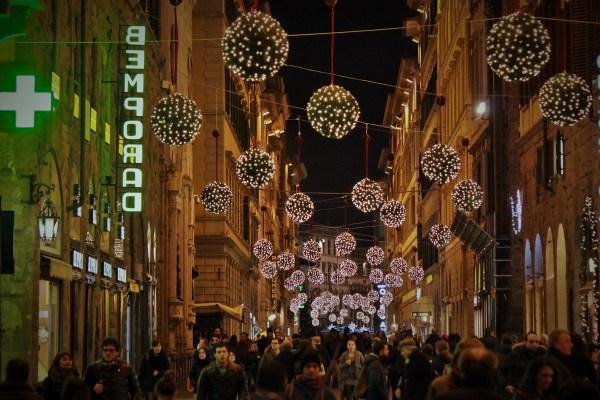 Ruas de Florença em dezembro.
