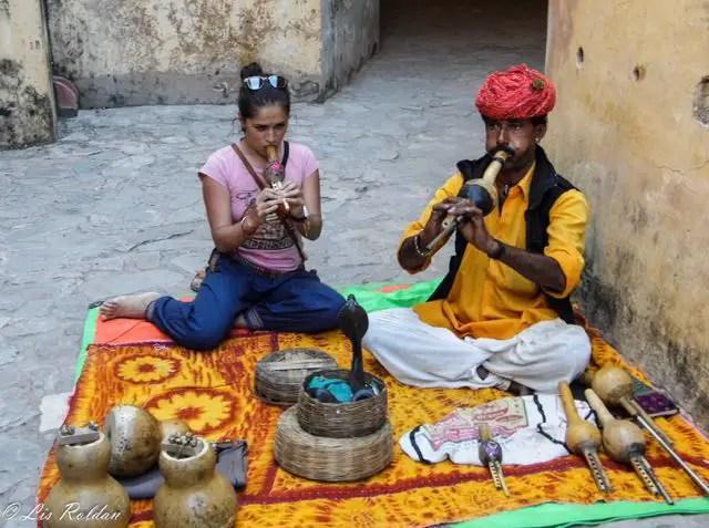 Encantador de cobras, Amber Fort, Jaipur, India