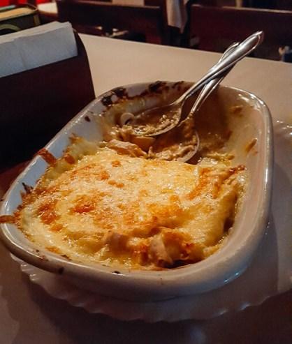 lasanha à quatro queijos com palmito