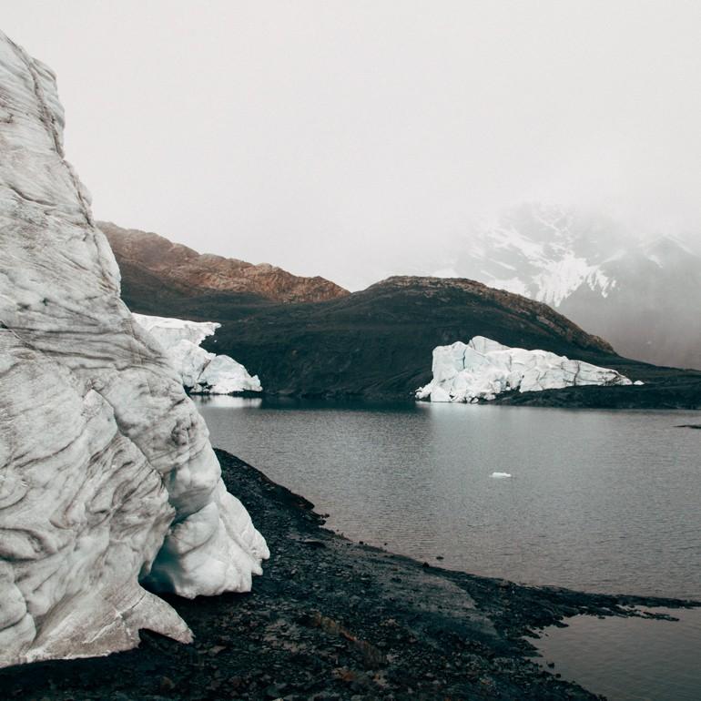 Blocos de gelo no Glaciar Pastoruri