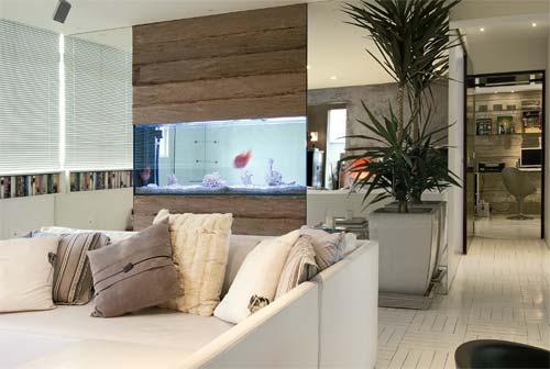 Sala com aquário