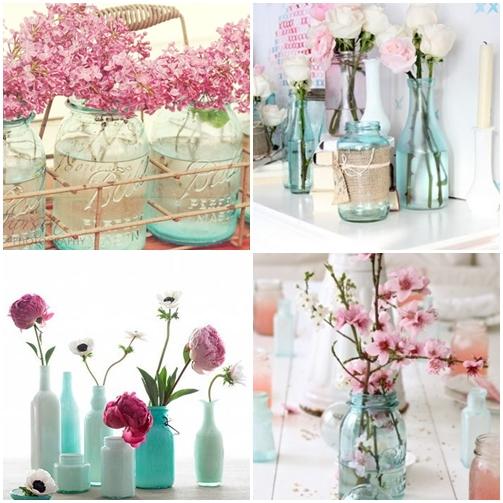arranjo de flores azul rosa branco