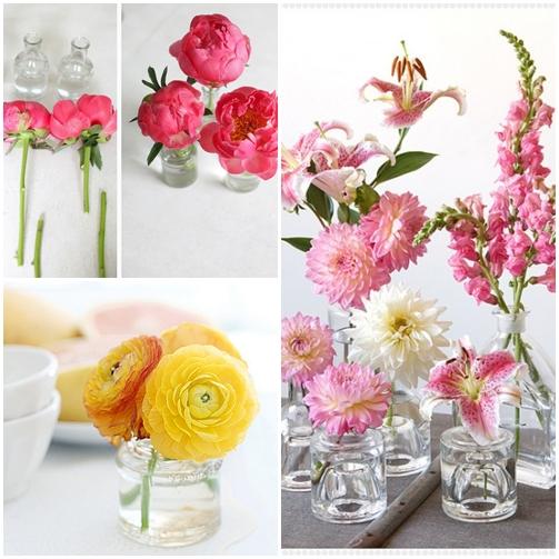 arranjo flores potes frascos de vidro