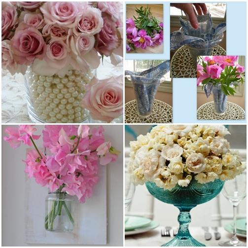 perolas flores lenço vaso quadro vaso de flores