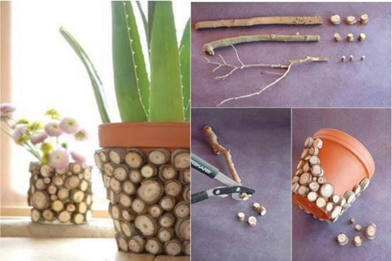 vaso decorado com rodelas de galho