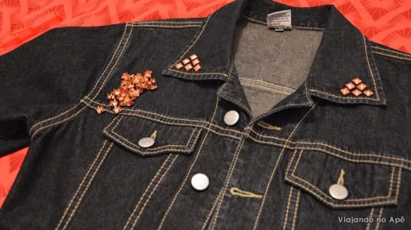 jaqueta customizada personalizada com spikes tachas