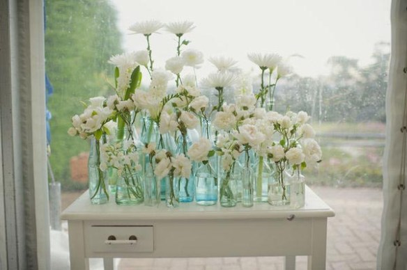 garrafas vidro composiçao flores decoracao