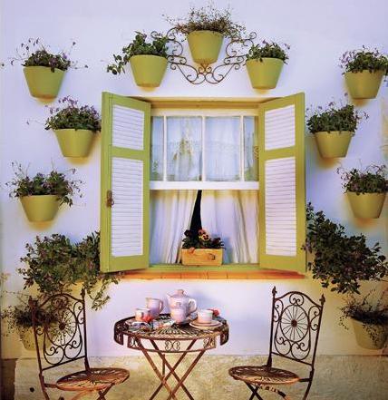 vasos amarelos parede decoracao