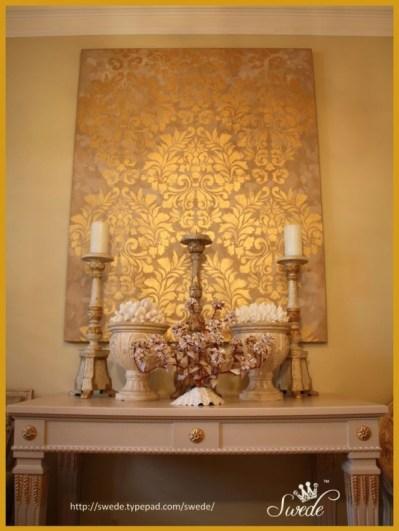 stencil na tela pintura dourada