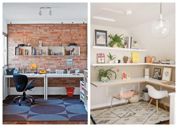 home office decoraçao prateleiras parede tijolinhos bancada nichos tapete