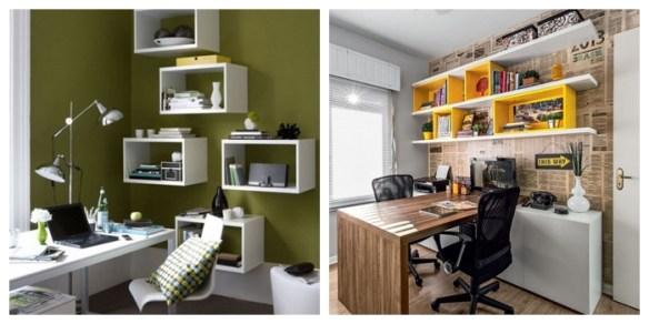 nichos parede home office escritorio organizaçao decoraçao