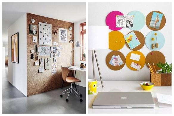 painel cortiça home office ideias decoraçao