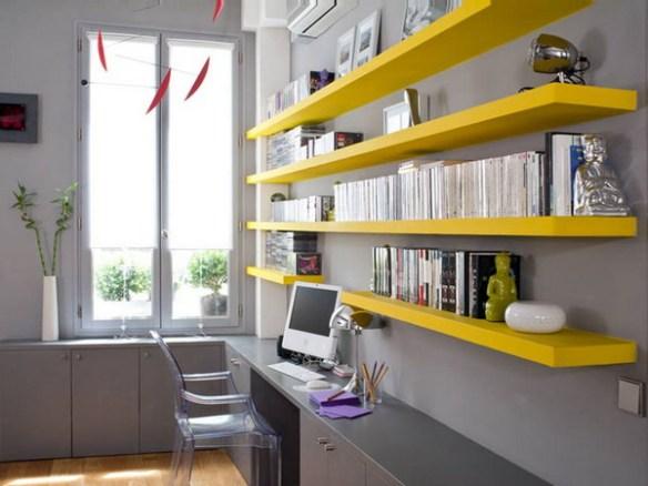 prateleiras coloridas home office escritorio