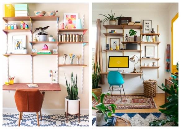 prateleiras com trilhos home office escritorio ideias decoraçao organizaçao