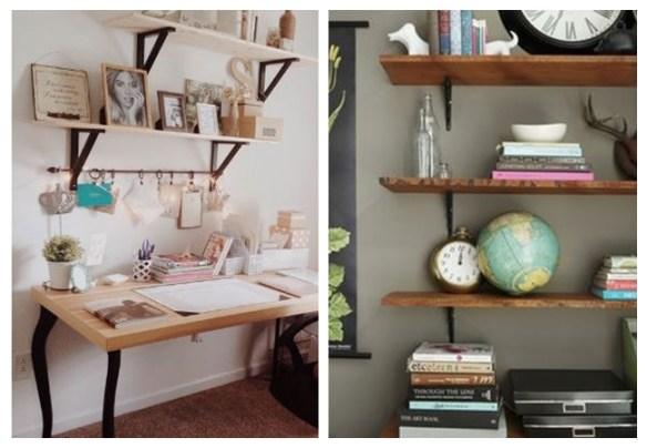 prateleiras suporte aparente mao francesa prateleira madeira home office escritorio decoraçao