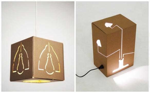 luminarias caixa papelao ideias criativas