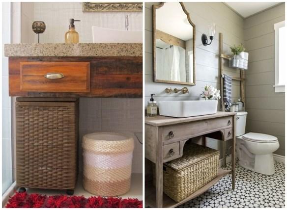 Cestos de roupa suja embaixo da pia/bancada do banheiro decoracao ideias
