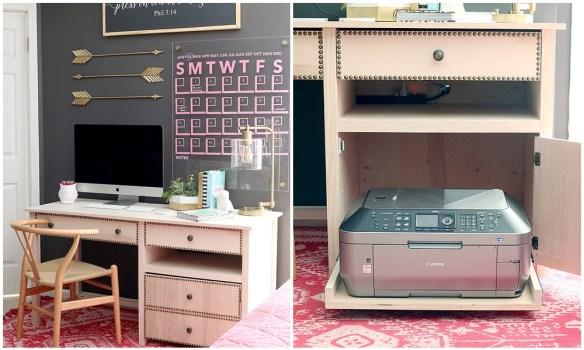 impressora escondida escrivaninha mesa trabalho home office