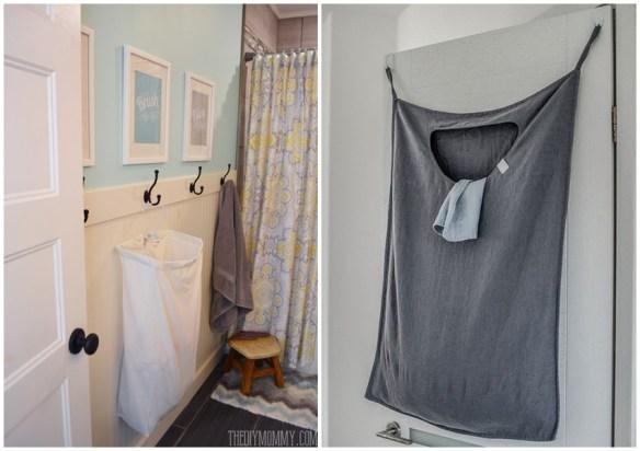 saco de roupa suja suspenso banheiro atras da porta