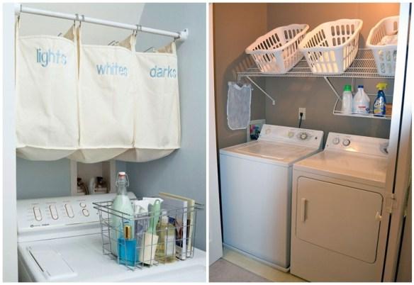 sacos cesto de roupa suja suspenso area de servico lavanderia ideias