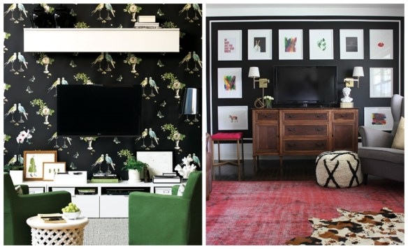 camuflar tv parede escura ideias decoracao