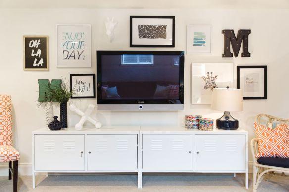 composicao parede tv rack quadros