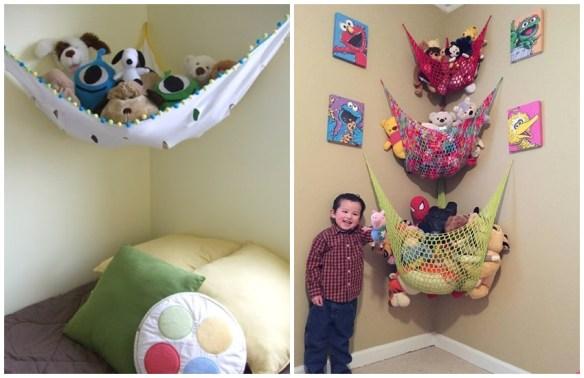 ideias criativas organizacao brinquedos bichinhos de pelucia parede rede