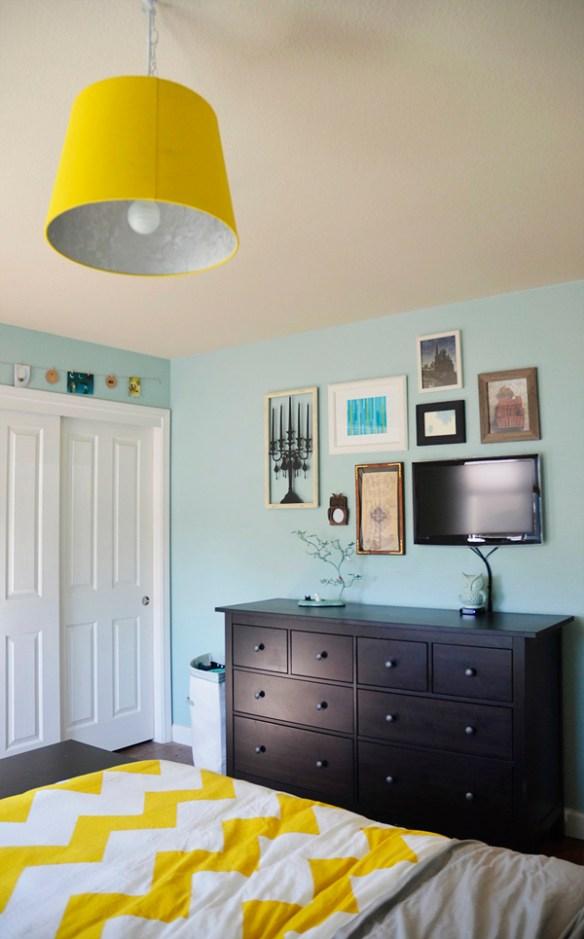 parede tv quarto decoracao quadros composicao