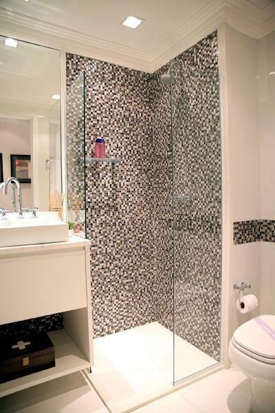 Banheiros decorados  112 imagens inspiradoras!  Viajando no ApêViajando no Apê -> Banheiros Decorados Pastilhas Pretas