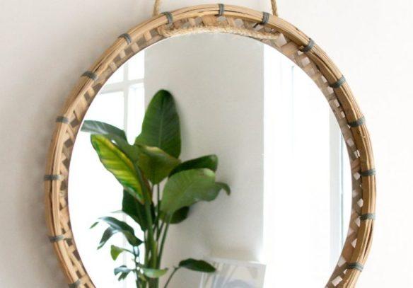 peneiras de palha cestas de palha decoracao parede moldura espelho