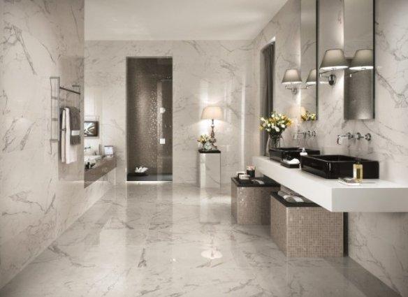 porcelanato que imita marmore carrara banheiro pisos e paredes