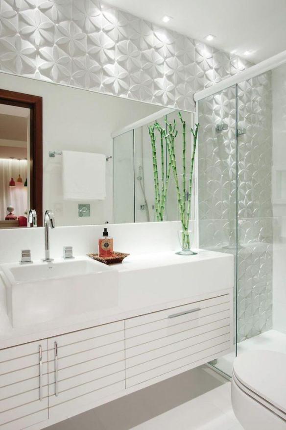 revestimento 3d banheiros decorados